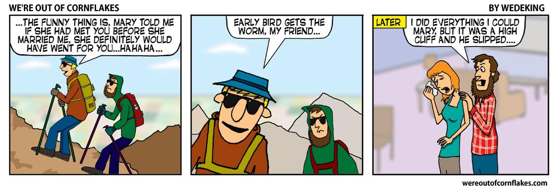 Buddies climbing a mountain