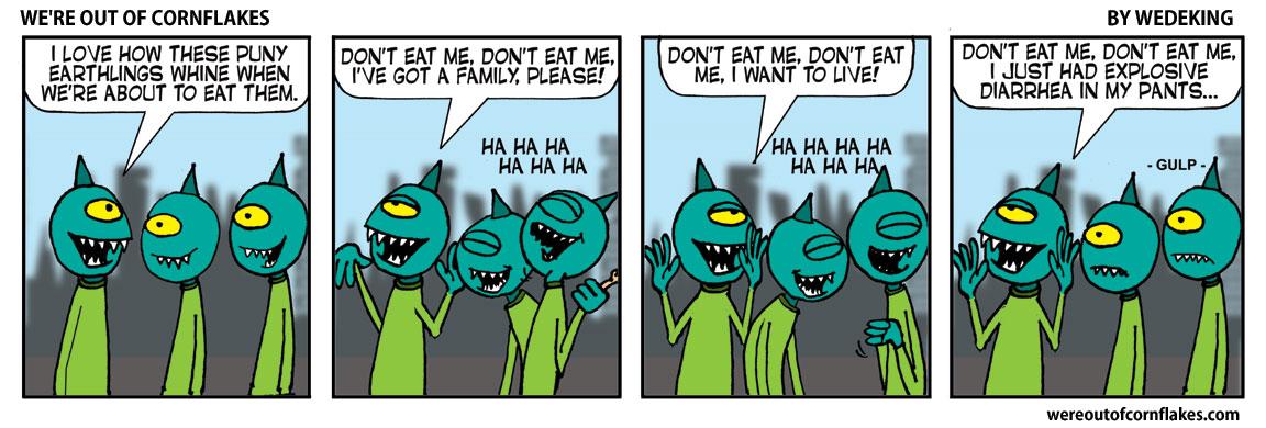 Giant aliens eating humans