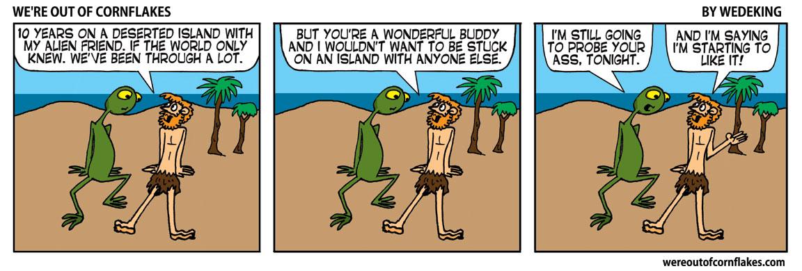 Alien and human stuck on island