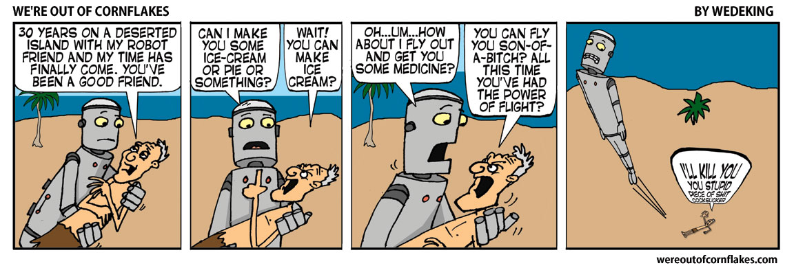 Old man and robot on a deserted island