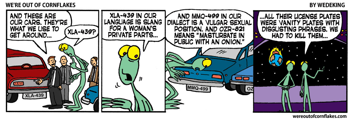 Alien checking out license plates
