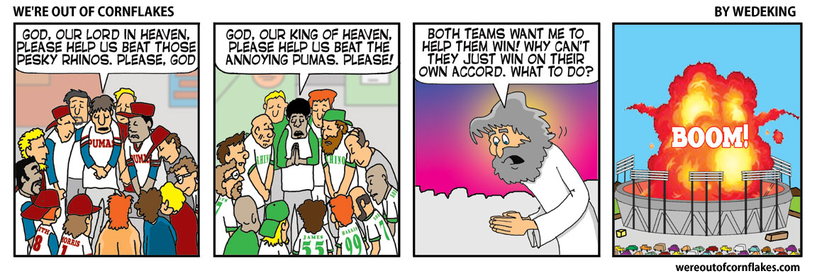 Why do sports teams think God will help them?